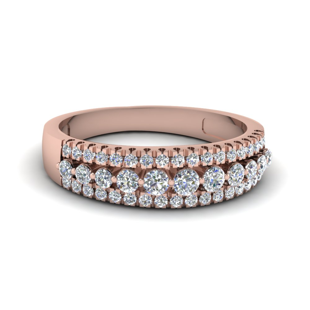 14k Rose Gold Wide Diamond Band