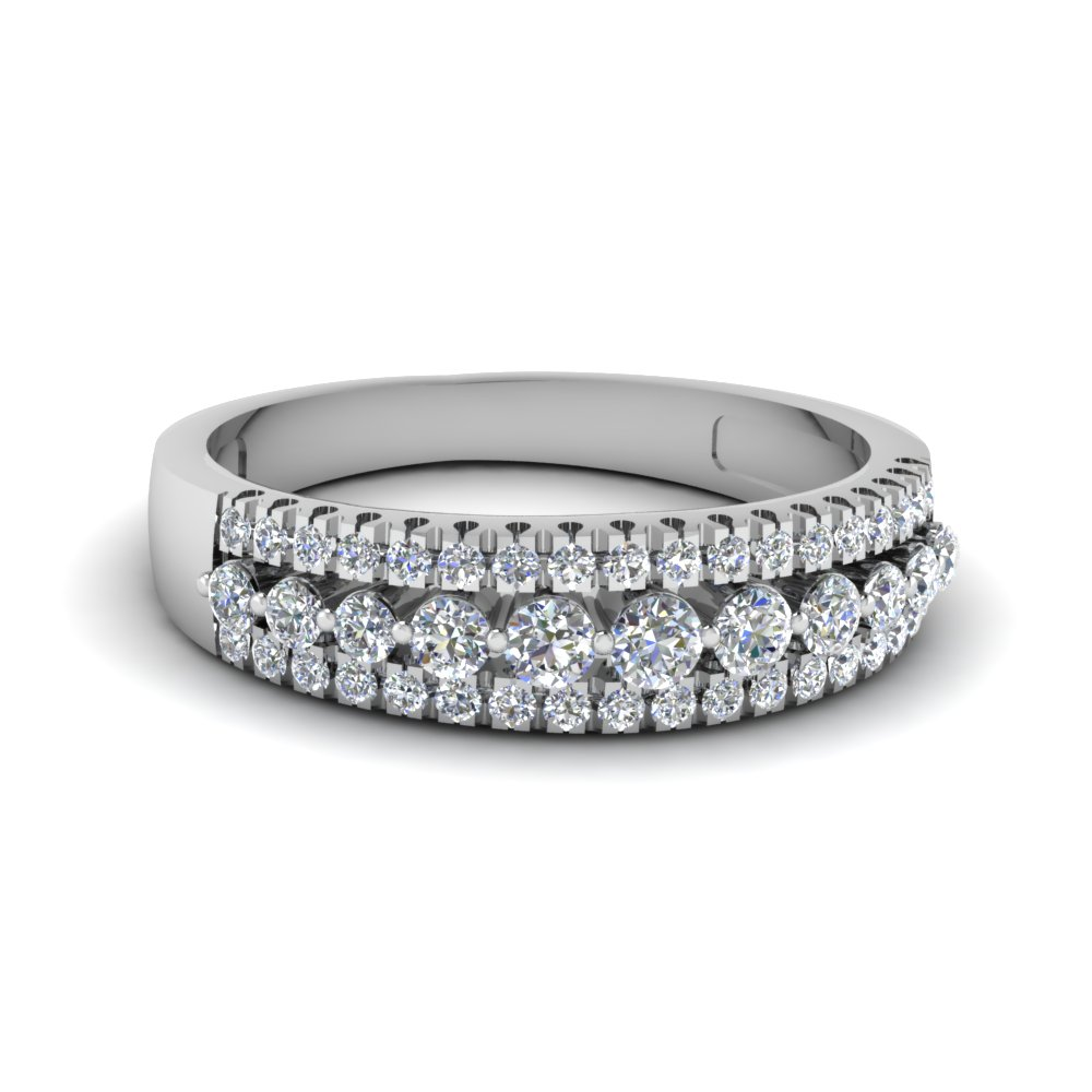 Triple Row Round Diamond Wedding Band In 14k White Gold