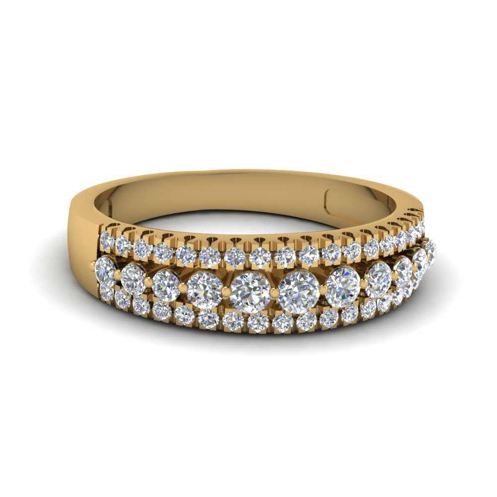 Triple Row Round Diamond Band