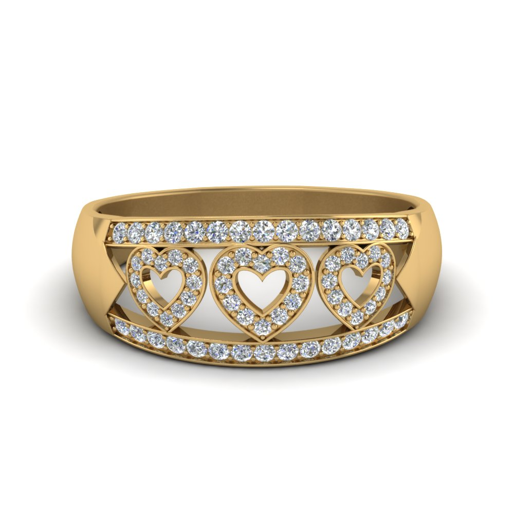 wide pave heart design wedding diamond band in FD63297B NL YG