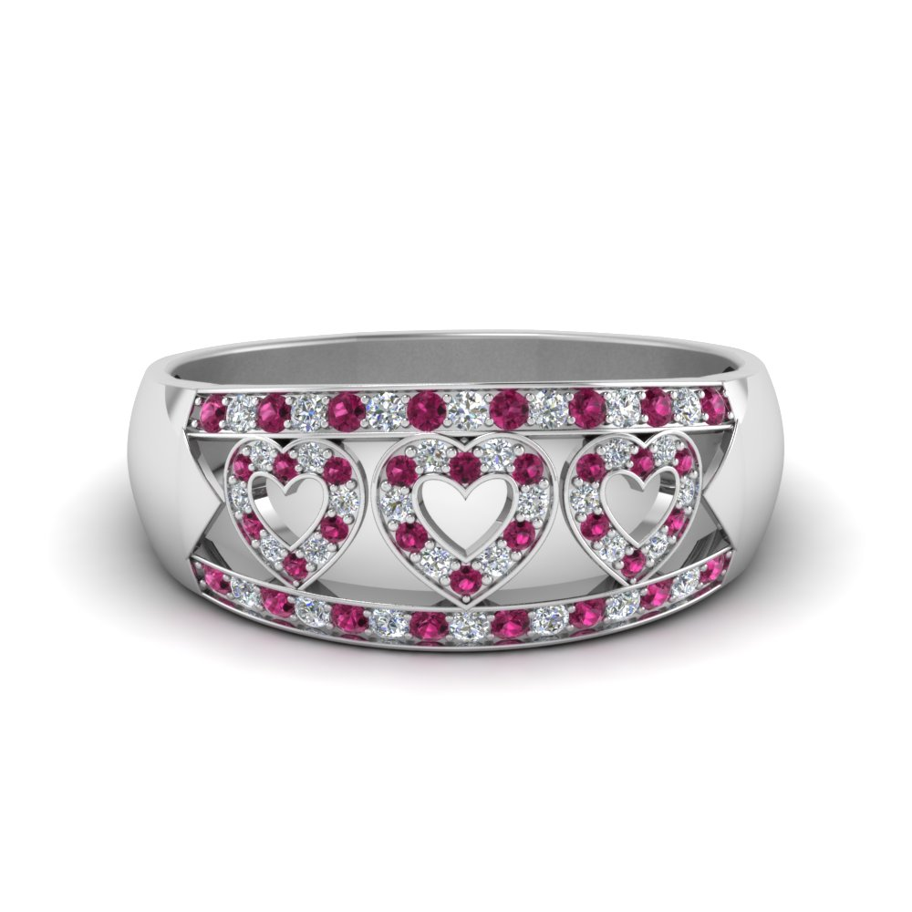 wide pave heart design wedding diamond band with pink sapphire in FD63297BGSADRPI NL WG
