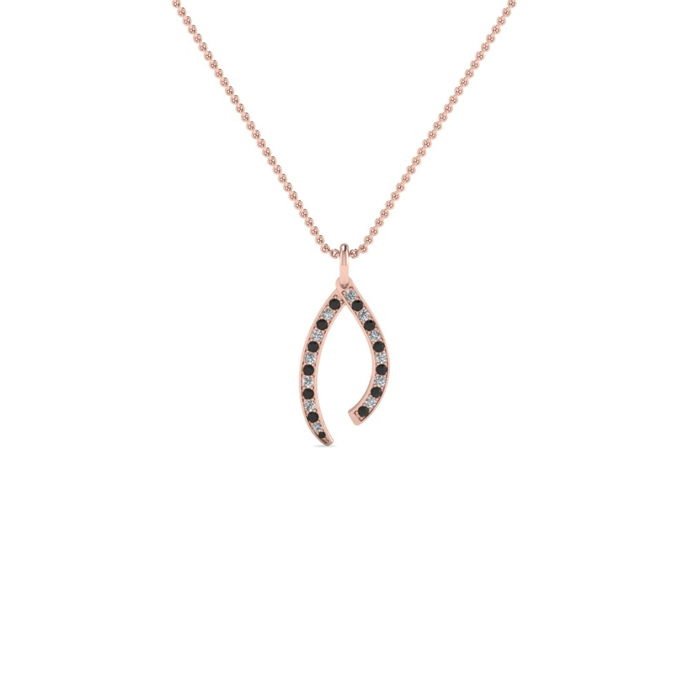 wishbone pave pendant necklace with black diamond in 14K rose gold FDPD728GBLACK NL RG