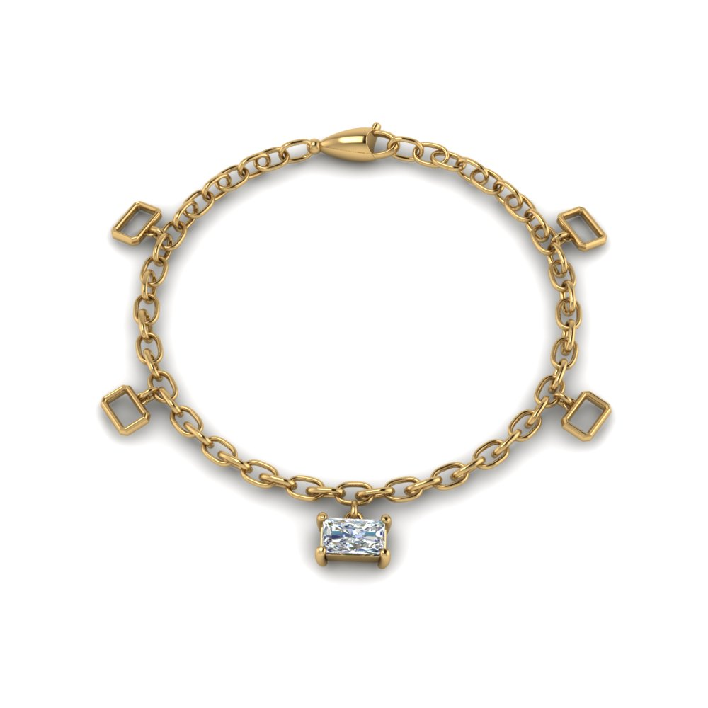 women diamond charm bracelet in FDBRC8655RA NL YG