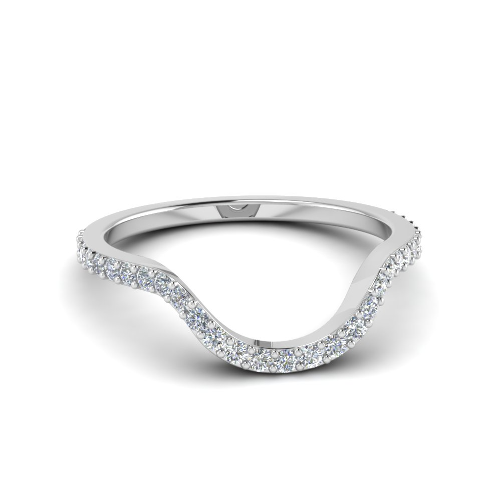 Women Diamond Curved Custom Wedding Band In 14k White Gold