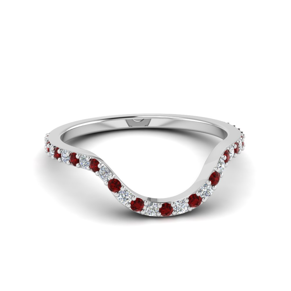 31846c634 women diamond curved custom wedding band with ruby in 14K white gold  FD8184BGRUDR NL WG