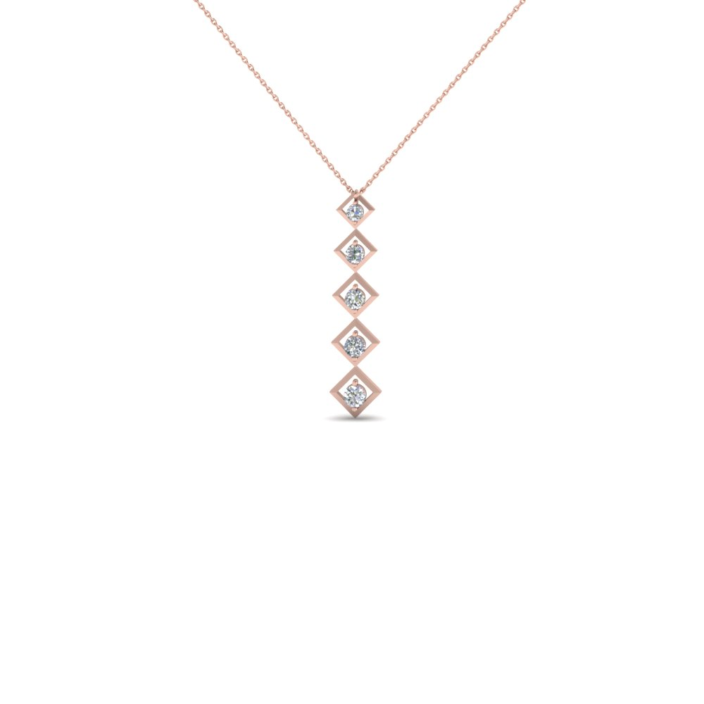 women diamond drop pendant necklace anniversary gifts in 14K rose gold FDPD1774 NL RG
