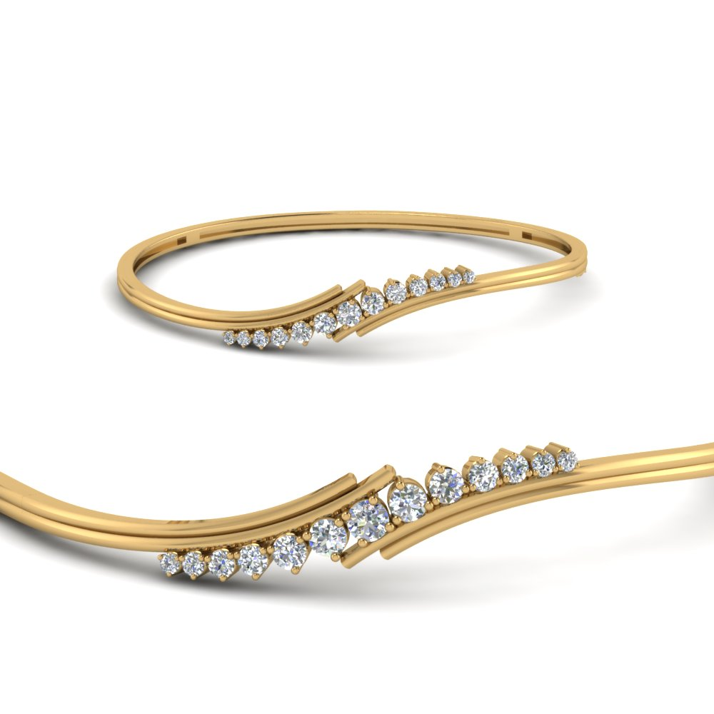 Thin Bangle Bracelet With Diamonds