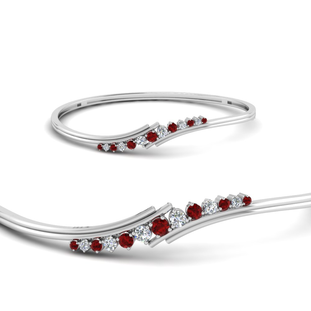 Twist Ruby Diamond Thin Bracelet