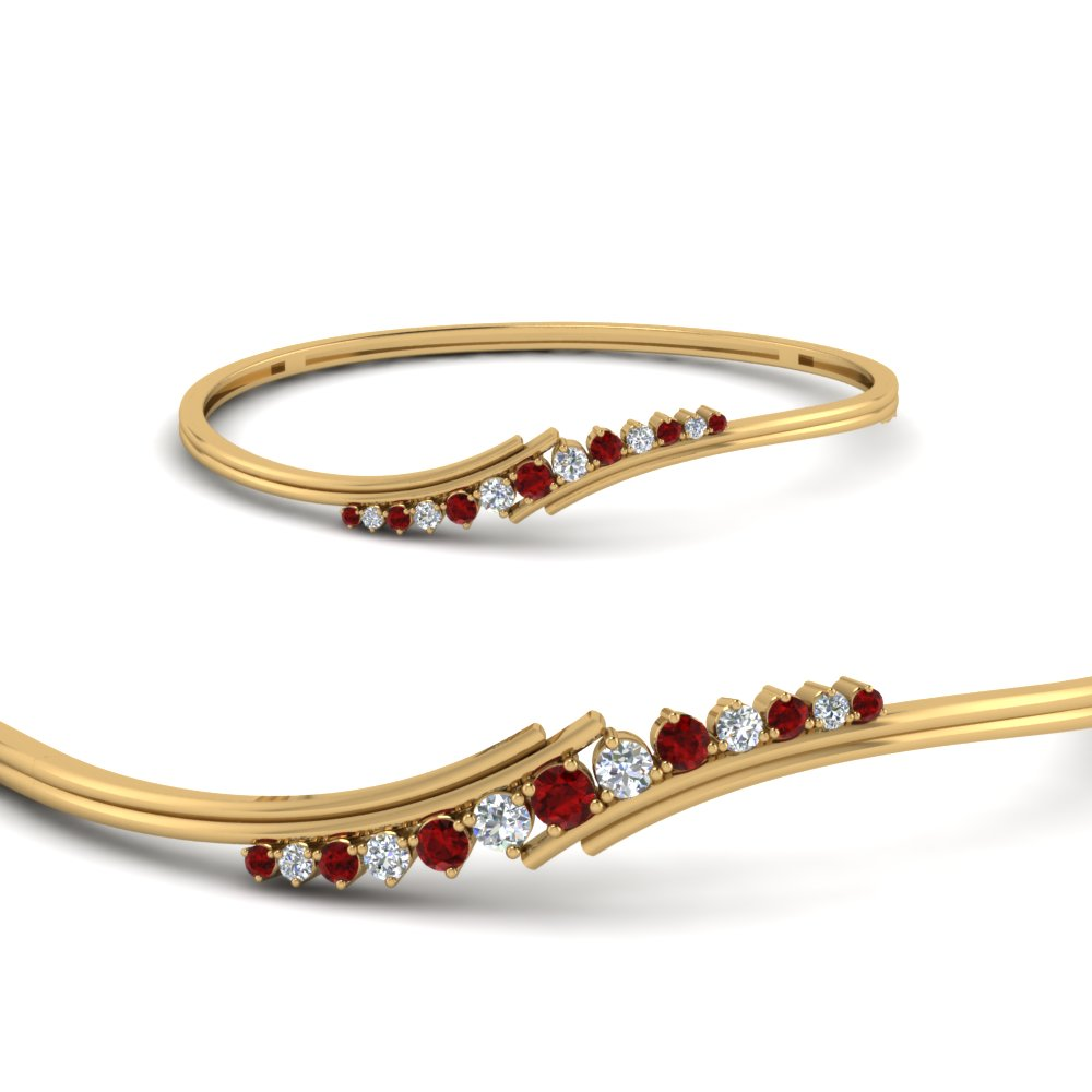 Yellow Gold Twist Ruby Bracelet