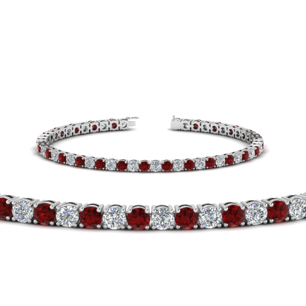Womens Diamond Tennis Bracelet With Ruby 5 Carat