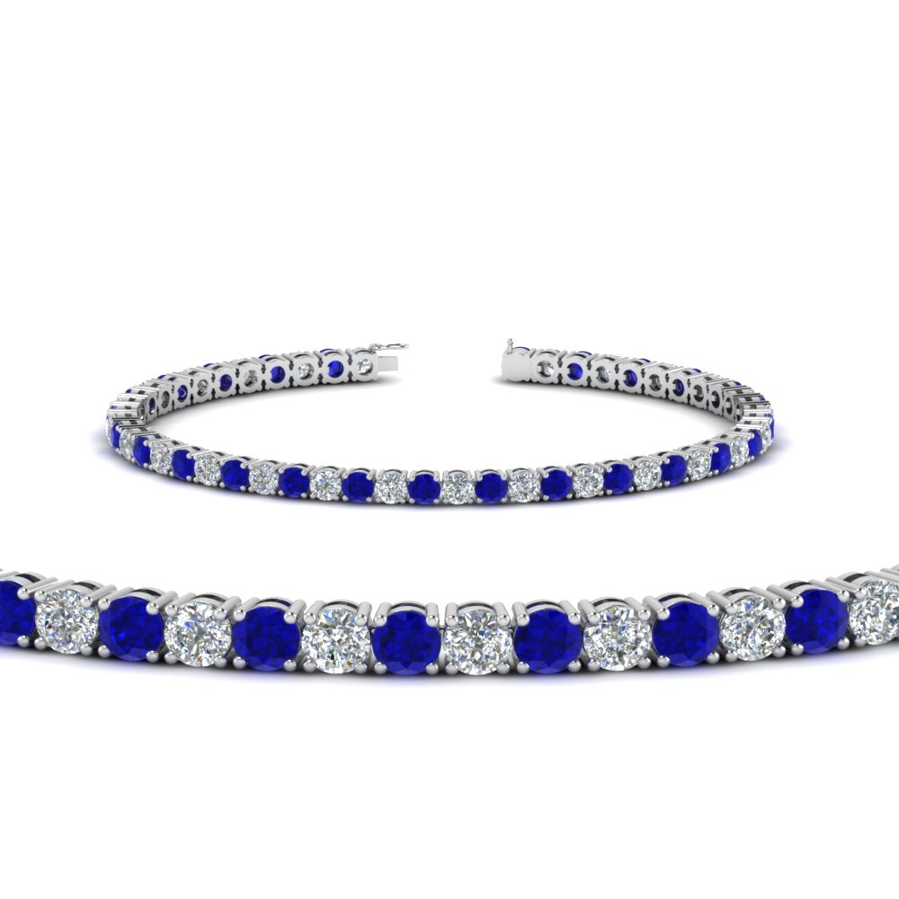 white tennis gold blue sapphire london diamond collection bracelet