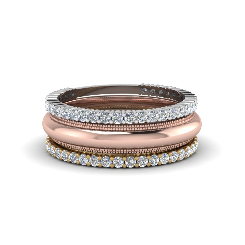 Milgrain Stackable Round Diamond Wedding Band