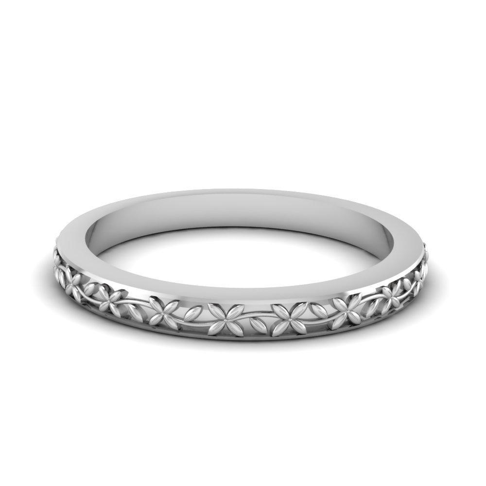 White Gold Wedding Band.Flower Wedding Ring