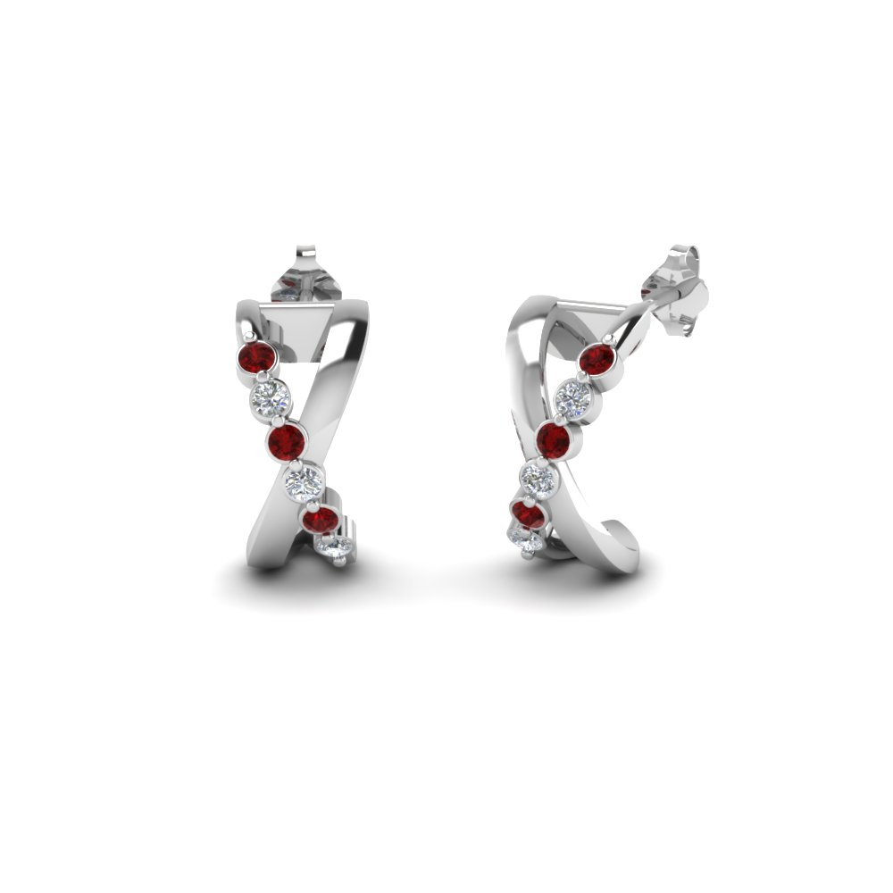 X Pattern Ruby Earring