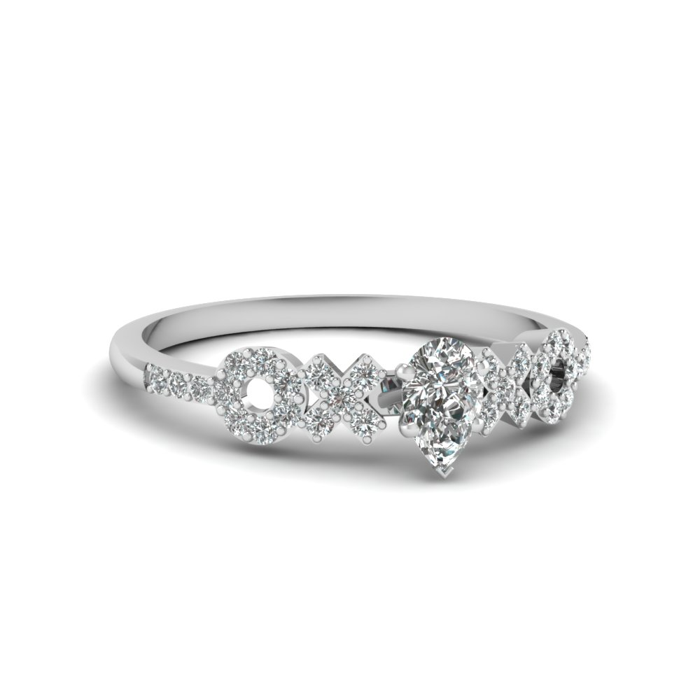 X O Pave Set Diamond Womens Wedding Ring In 14K White Gold