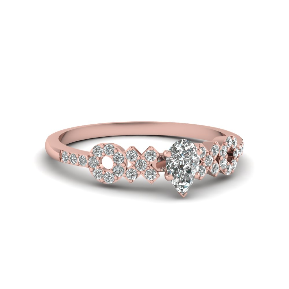 x o pave set diamond womens wedding ring in 18K rose gold FDENS3043PER NL RG 30