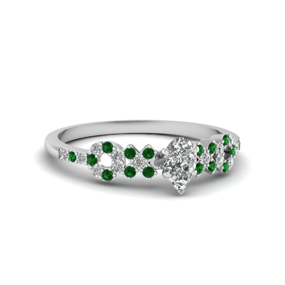 x o pave set diamond womens wedding ring with emerald in 14K white gold FDENS3043PERGEMGR NL WG 30