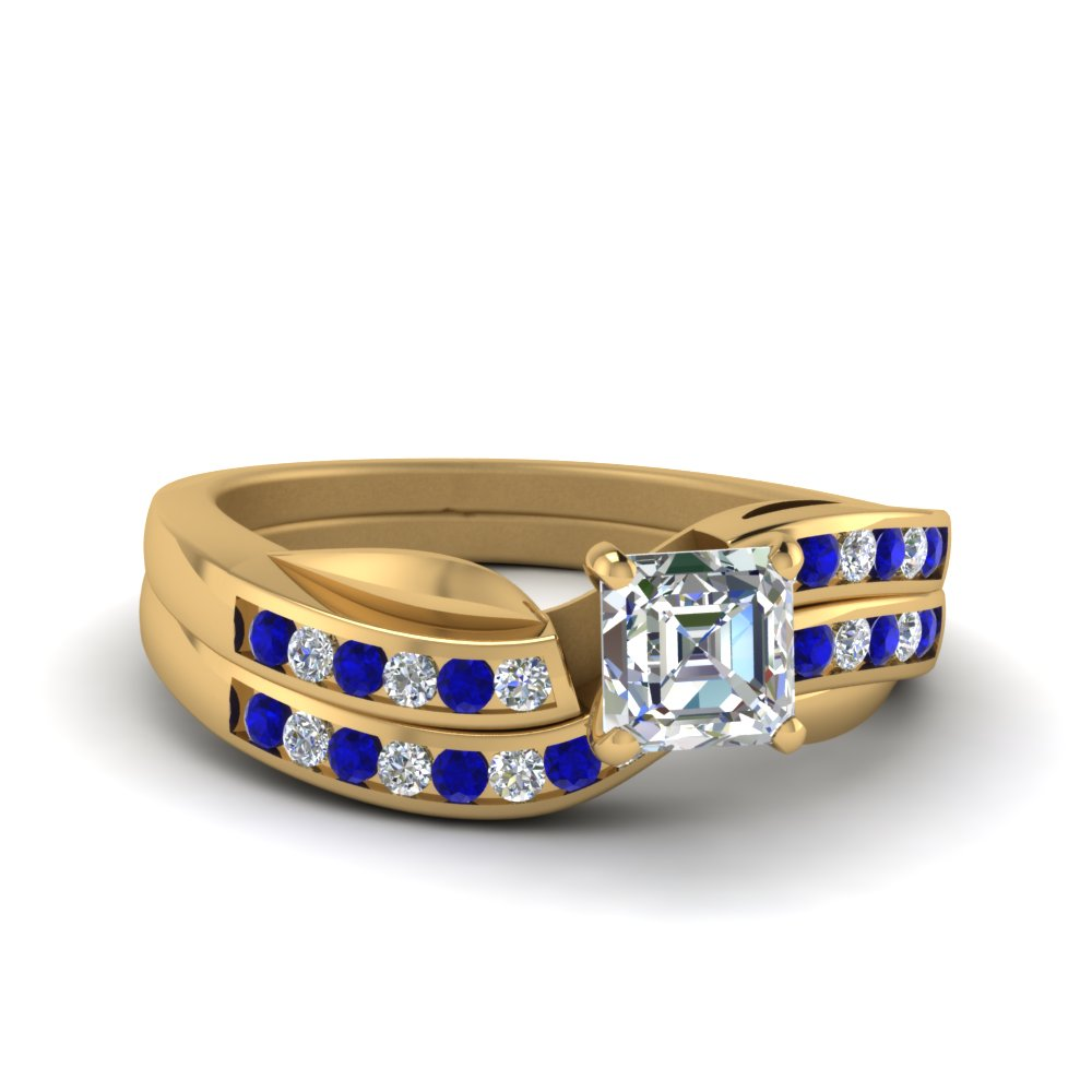 Petal Channel Set Asscher Diamond Wedding Ring Set With Sapphire In 14K Yellow Gold