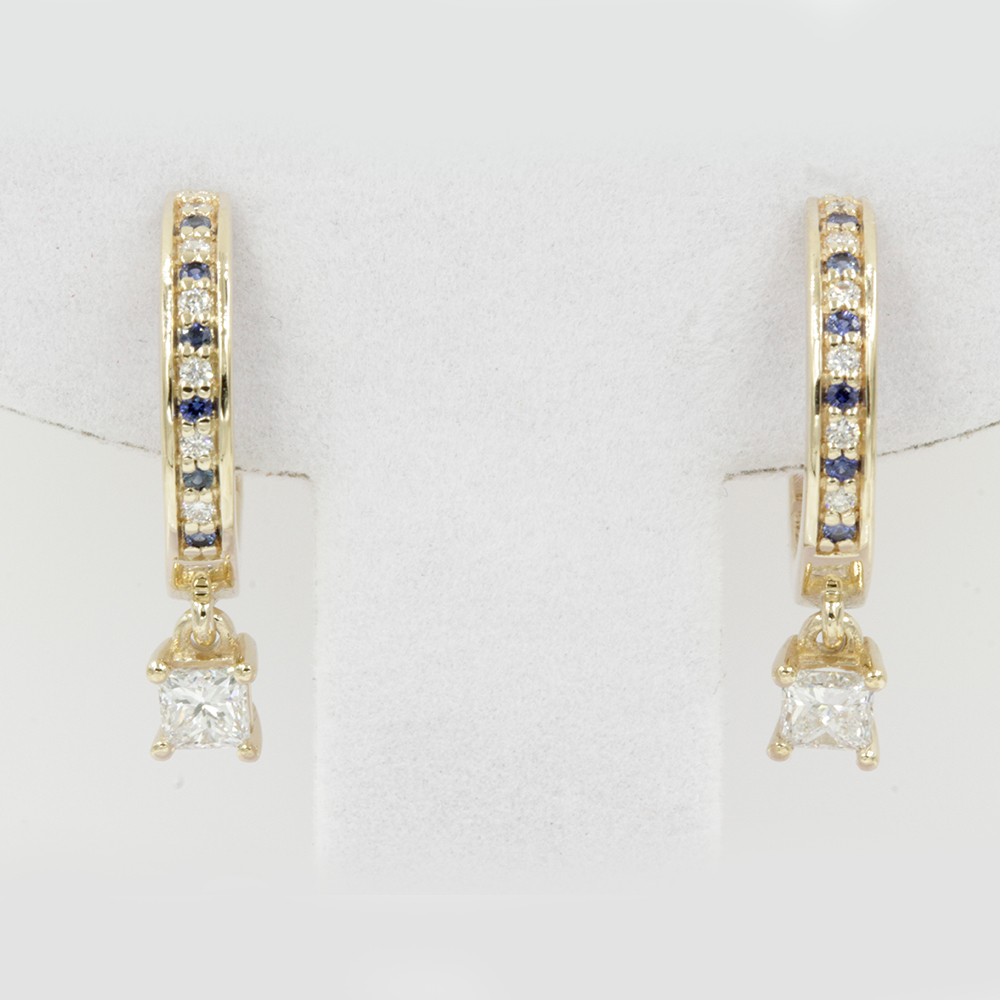 yellow gold diamond hoop drop earrings FDEAR1161PRGSABL