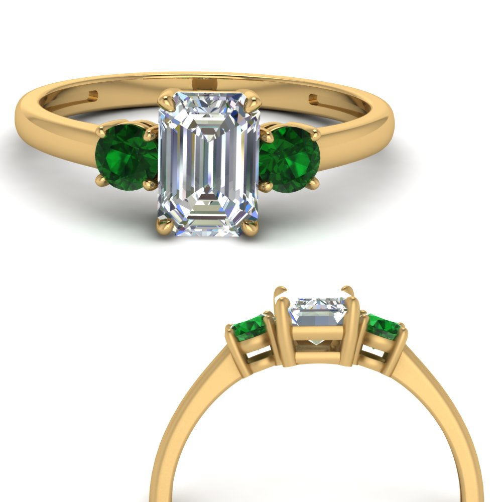 basket prong emerald cut diamond 3 stone engagement ring with emerald in FDENS3106EMRGEMGRANGLE3 NL YG.jpg