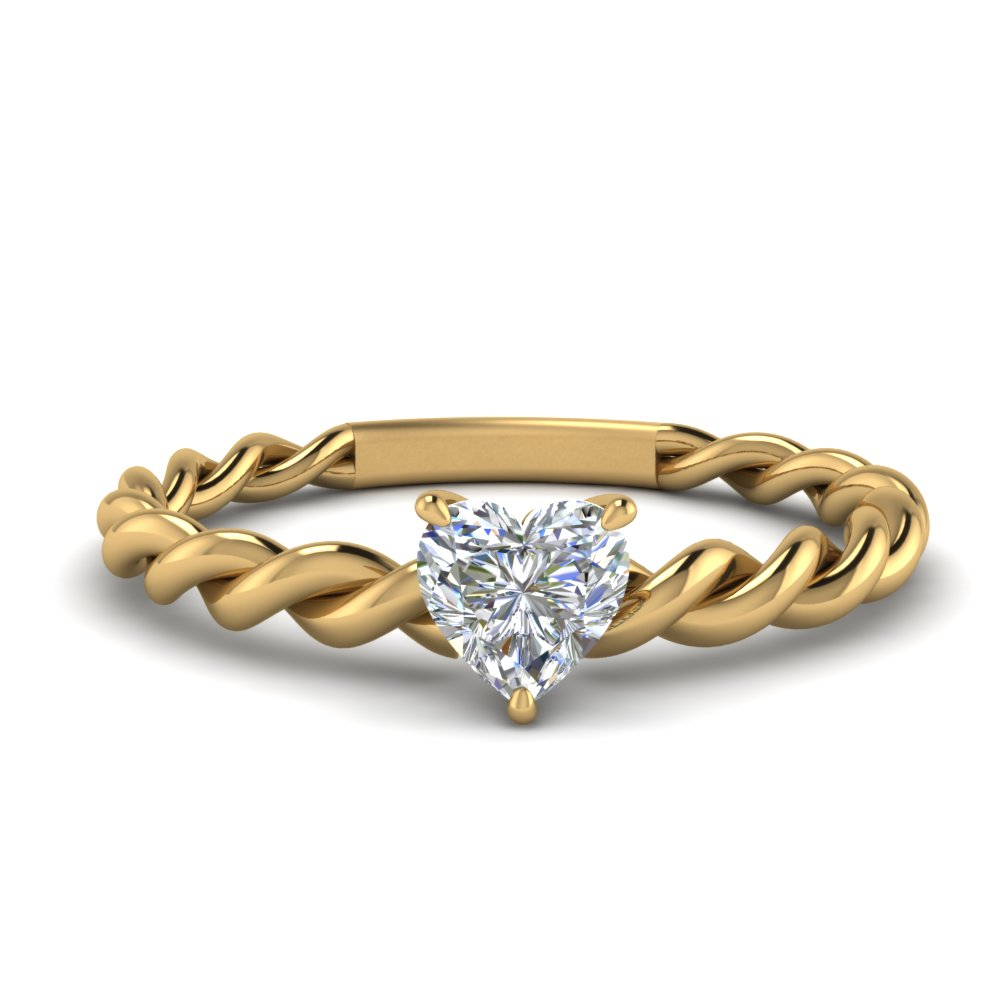 heart solitaire braided lab diamond engagement ring in FD1087HTR NL YG