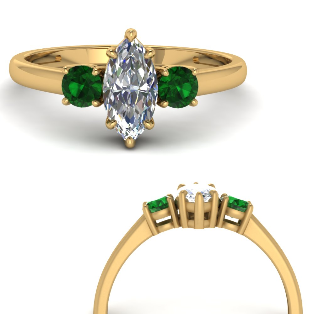 basket prong marquise diamond 3 stone engagement ring with emerald in FDENS3106MQRGEMGRANGLE3 NL YG.jpg