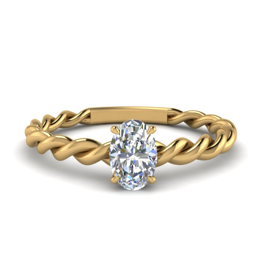 oval solitaire braided engagement ring in FD1087OVR NL YG