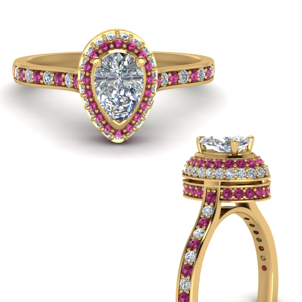 teardrop under halo high set diamond engagement ring with pink sapphire in FDENS1692PERGSADRPIANGLE3 NL YG.jpg