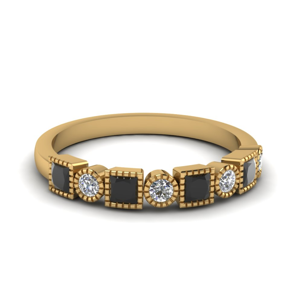 Art Deco Band With Black Diamond