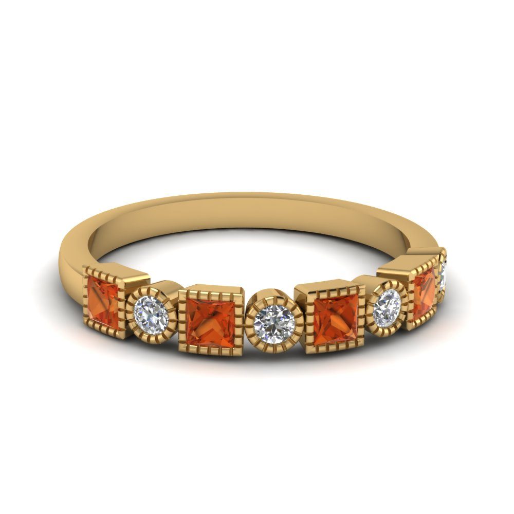 diamond art deco band with orange sapphire in FD64626BGSAOR NL YG