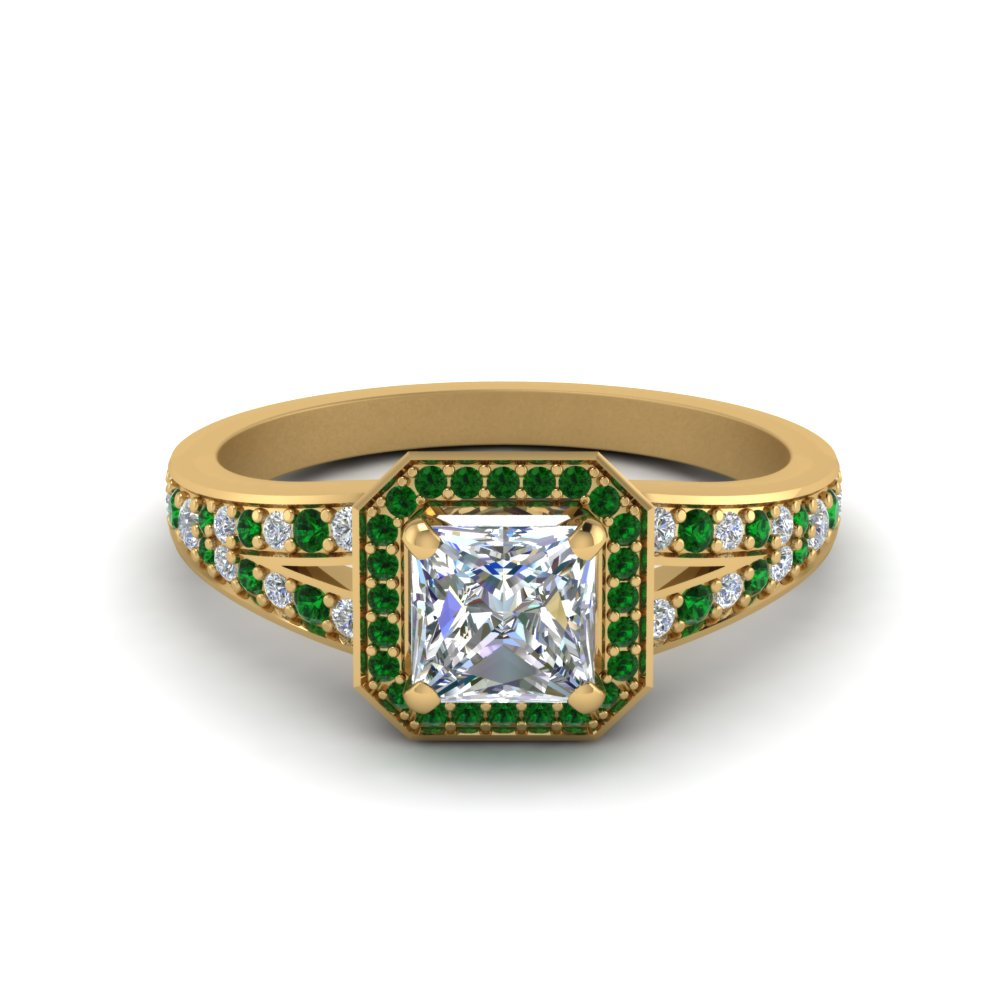 Delicate Emerald Princess Cut Ring