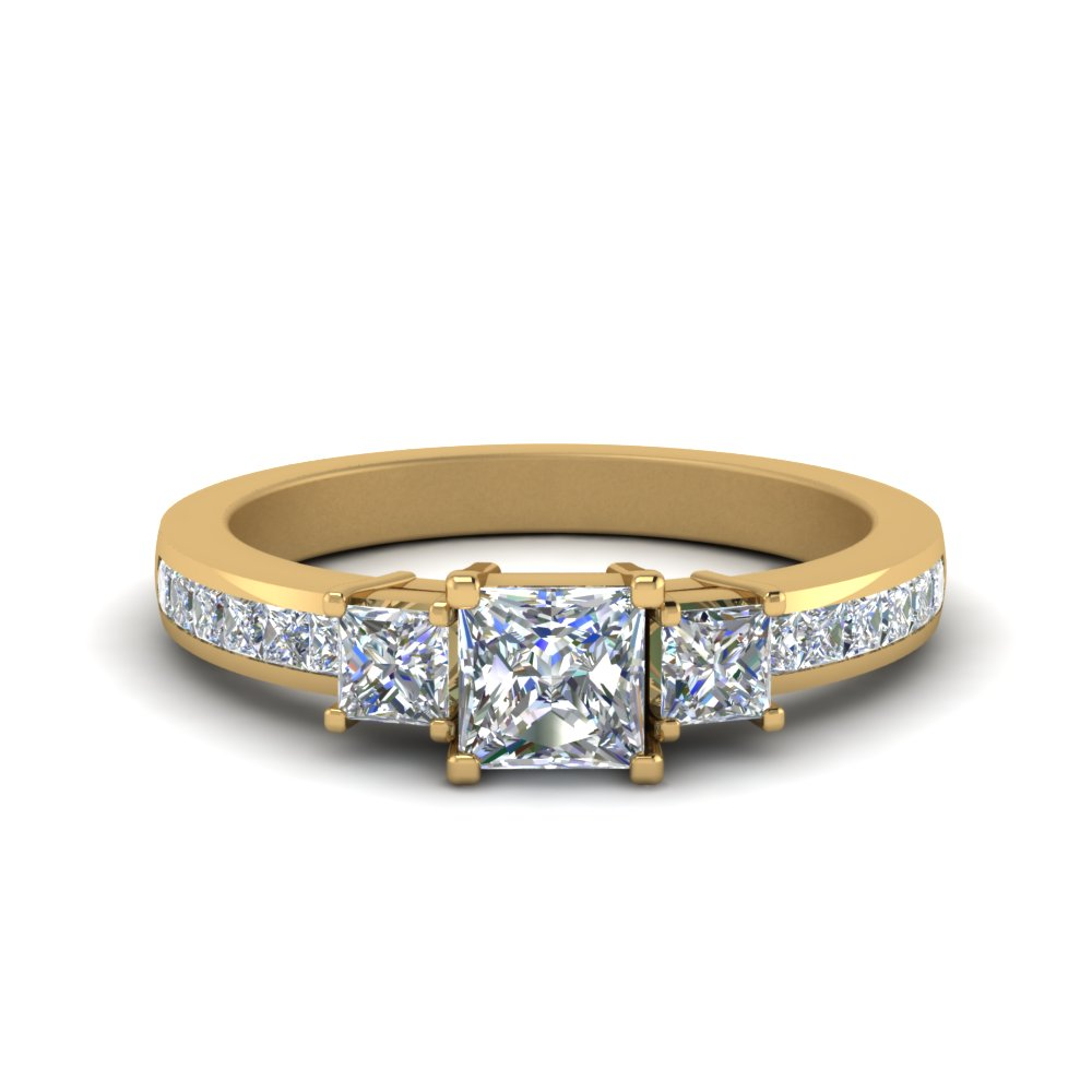 channel 3 stone princess cut diamond engagement ring in FDENR6000PRR NL YG