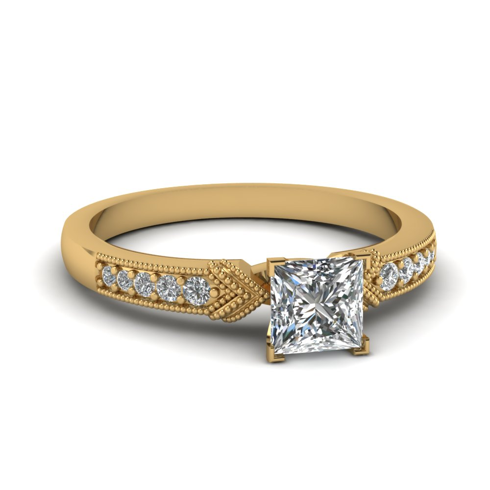 Princess Cut Milgrain Engagement Rings