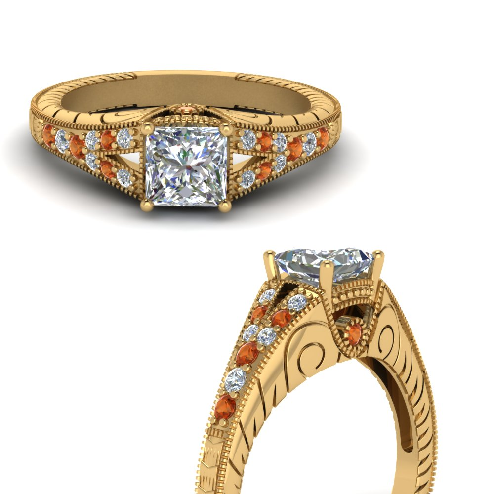 antique-engraved-princess-cut-diamond-engagement-ring-with-orange-sapphire-in-FDENR6798PRRGSAORANGLE3-NL-YG