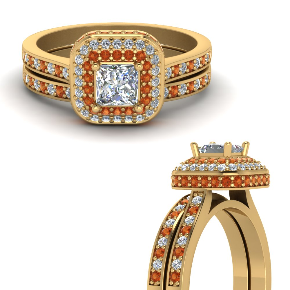 halo crown princess cut diamond wedding ring set with orange sapphire in FDENS1697PRGSAORANGLE3 NL YG