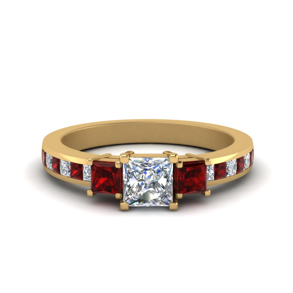 channel 3 stone princess cut diamond engagement ring with ruby in FDENR6000PRRGRUDR NL YG