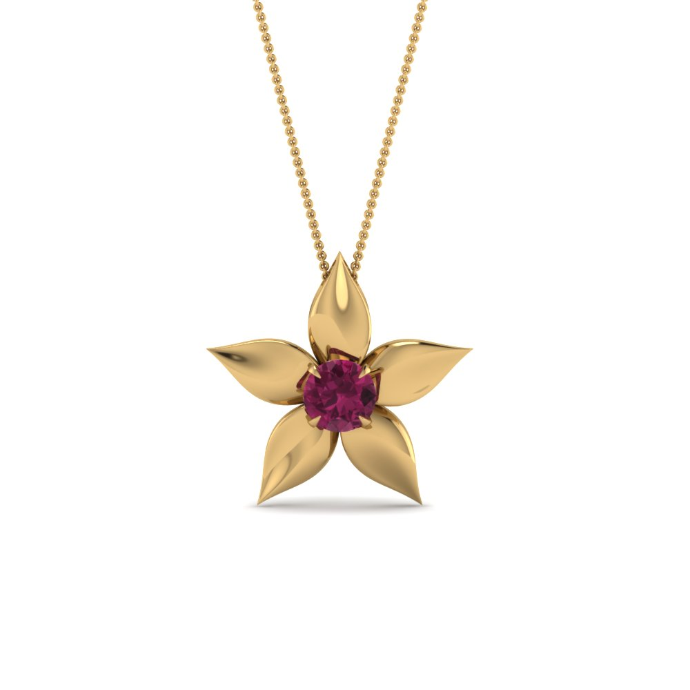 Pink Sapphire Daisy Solitaire Pendant
