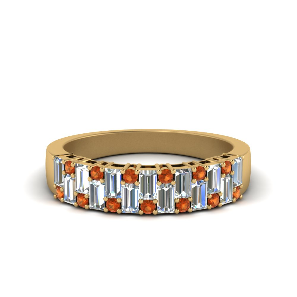 vintage baguette wedding band with round orange sapphire in FD1051WBGSAOR NL YG