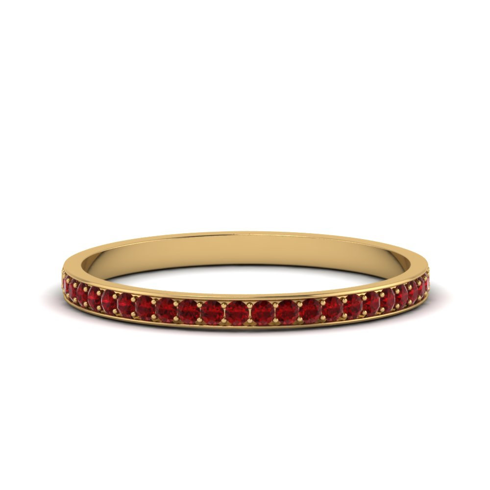 Thin Pave Ruby Wedding Band