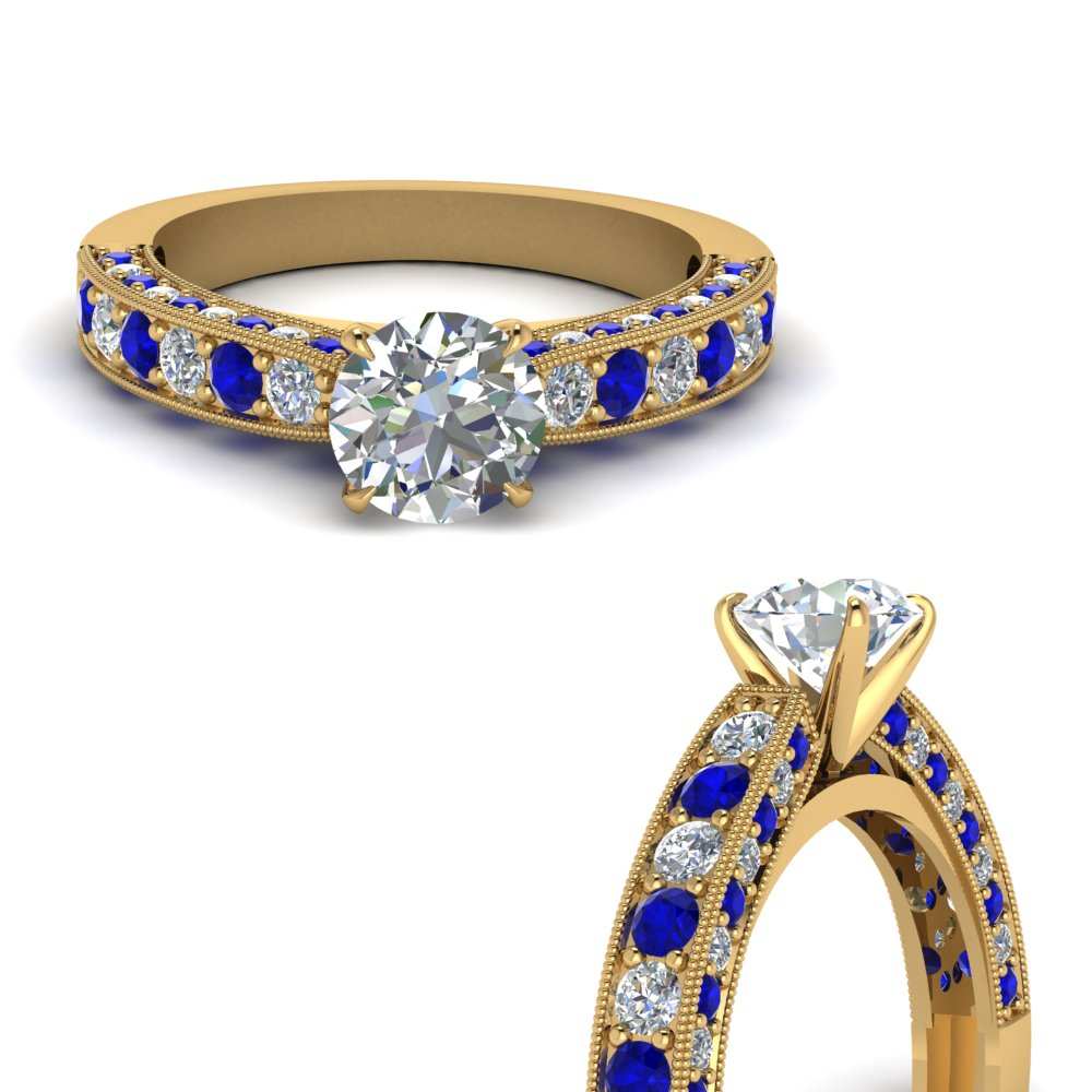 milgrain-round-diamond-engagement-ring-with-sapphire-in-FDENS1775RORGSABLANGLE3-NL-YG
