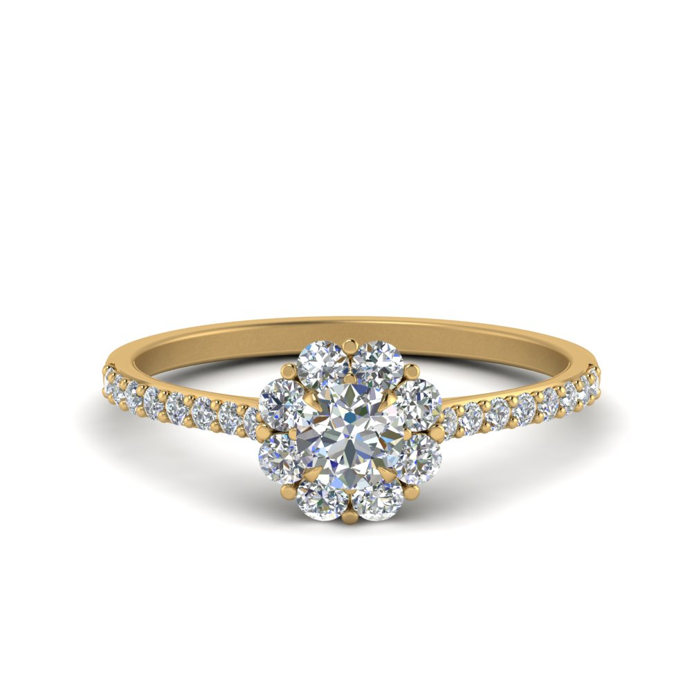 flower halo diamond engagement ring in FD122092ROR NL YG