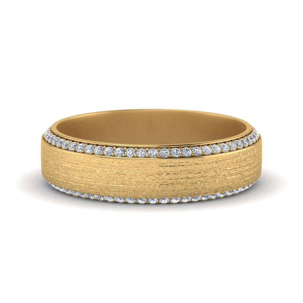 brushed pave diamond mens wedding band in FDDB1040B NL YG