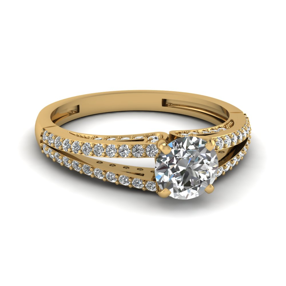 yellow gold split shank discounted diamond ring in 14K yellow gold FDENS3131ROR NL YG