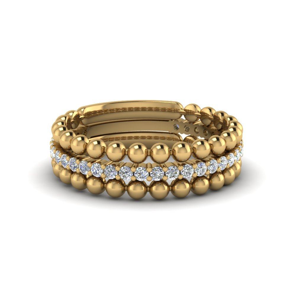 Yellow Gold Stackable Bead Diamond Anniversary Ring Gifts In 14K