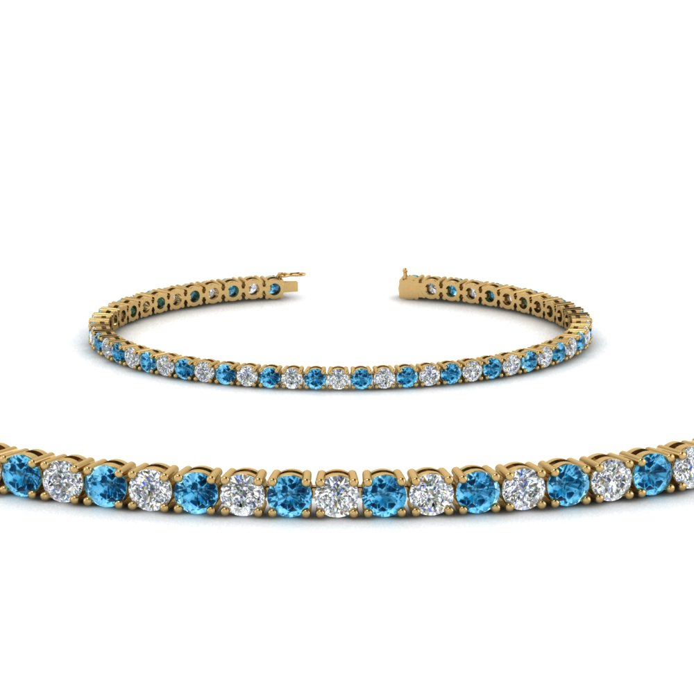 Tennis Diamond Bracelet With Blue Topaz 4 Carat In Fdbrc8637 4ctgicblto Nl Yg