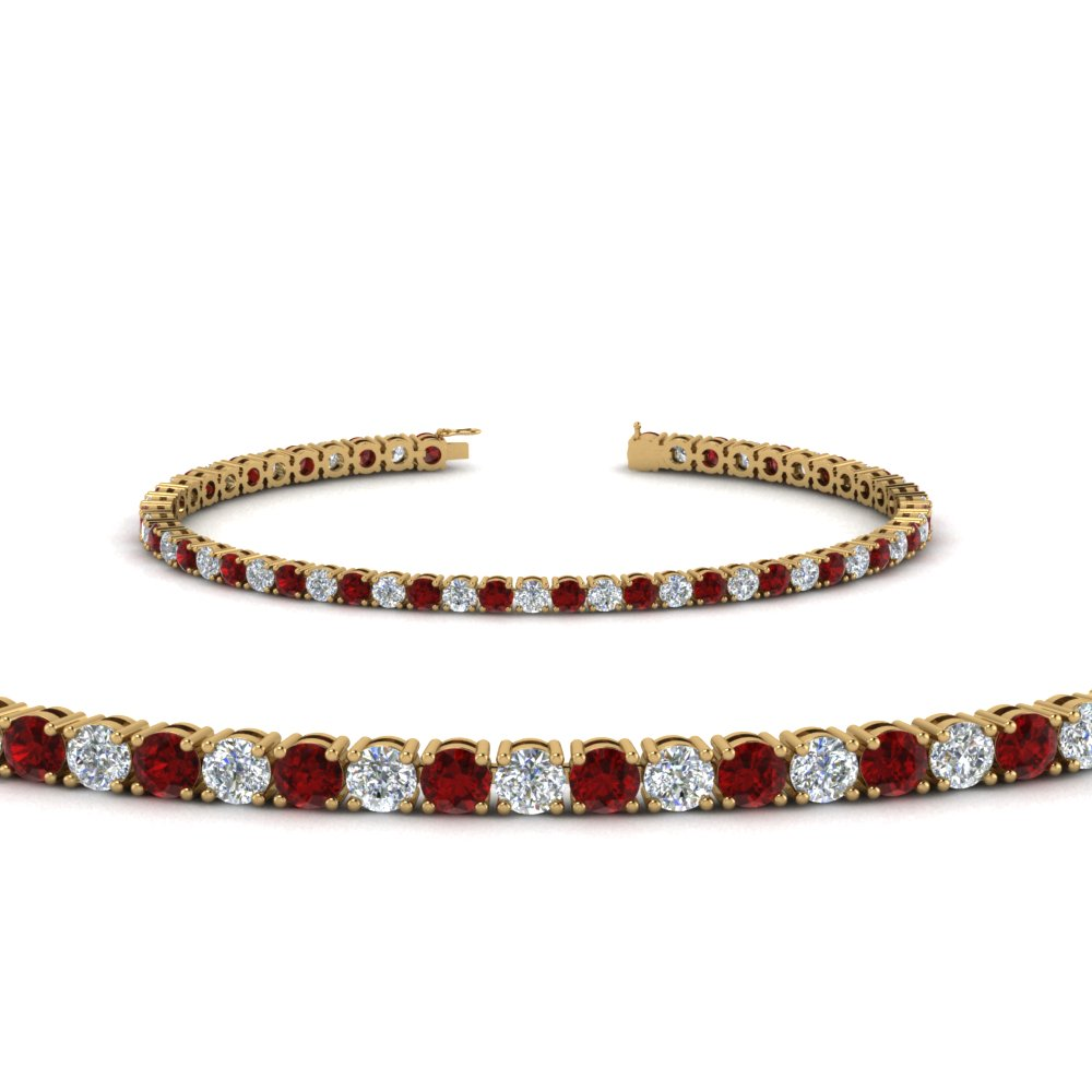 Tennis Diamond Bracelet With Ruby 4 Carat In Fdbrc8637 4ctgrudr Nl Yg