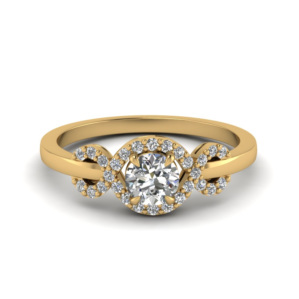 yellow gold wave halo discounted diamond engagement ring in 14K yellow gold FDENR9164ROR NL YG