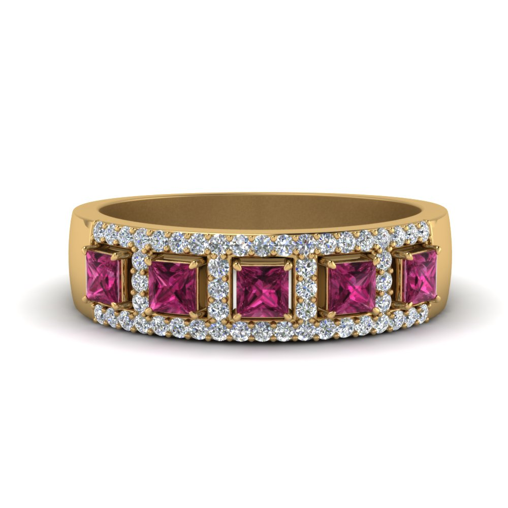 yellow gold wedding band white diamond dark pink sapphire in pave prong set FDWB866BGSADRPI NL YG