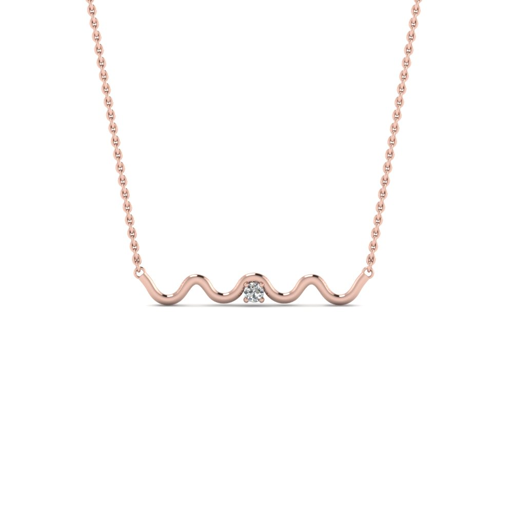 Zig Zag Single Diamond Pendant