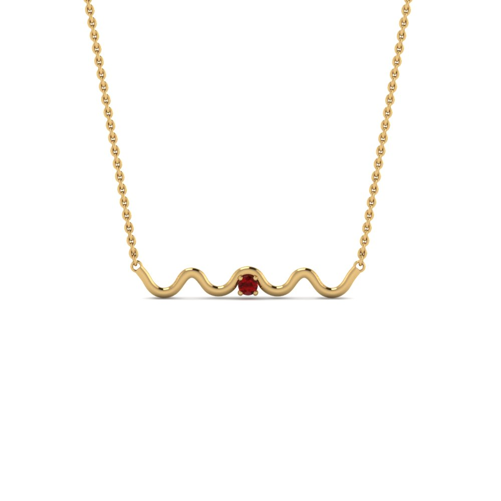 zig zag single ruby pendant necklace in 14K yellow gold FDPD86527GRUDR NL YG